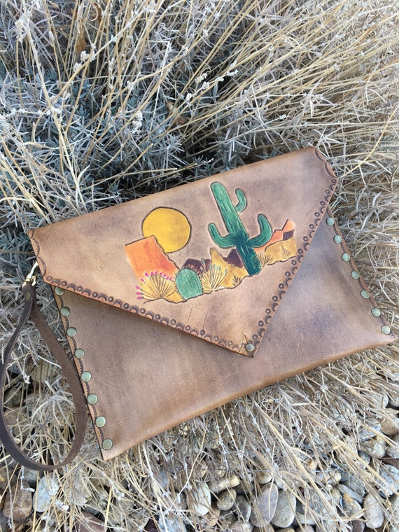 Leather clutch cactus scene, made-to-order