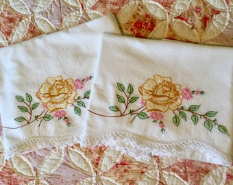 Vintage Hand Embroidered Pillowcases with Crochet Edge, Pair of Pillowcases with Gold and Pink Flowers, Great Condition