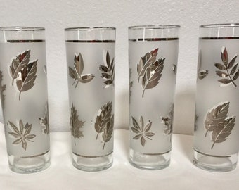 Tall Frosted Silver Leaves Drink Glasses by Libbey, Set of 4 Ice Tea or High Ball Glasses
