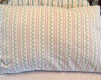 Vintage Feather Pillow with Striped Pillow Tick, Soft and Puffy