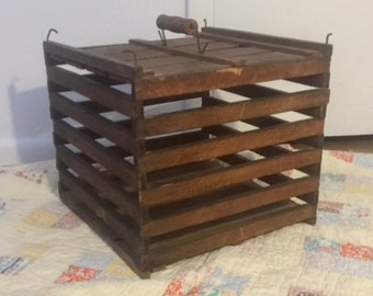 Vintage Wooden Egg Carrier, Egg Crate, Country Farmhouse Primitive Rustic Decor, Dark Wood