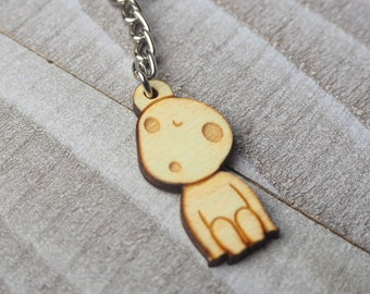 Kodama Forest Spirit Keychain | Laser Cut Jewelry | Wood Accessories | Wood Keychain
