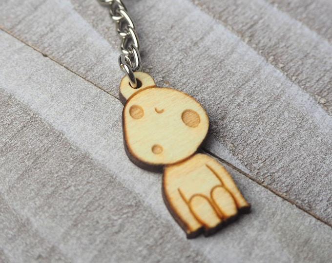 Kodama Forest Spirit Keychain | Laser Cut Jewelry | Wood Accessories | Wood Keychain