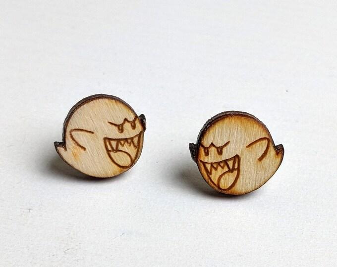 Boo Mario Ghost Earrings   Laser Cut Jewelry   Hypoallergenic Studs   Wood Earrings