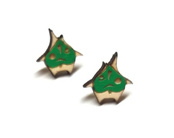 Korok Breath of the Wild Zelda Earrings | Laser Cut Jewelry | Hypoallergenic Studs | Wood Earrings