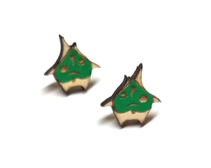Korok Breath of the Wild Zelda Earrings | Laser Cut Jewelry | Hypoallergenic Studs | Wood Earrings
