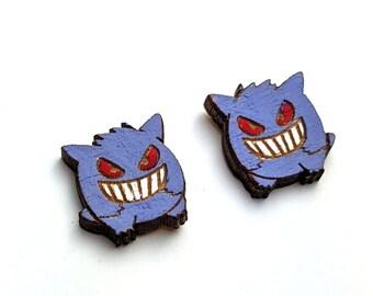 Purple Ghost Hand Painted Wood Pokemon Earrings Wood Earrings Hypoallergenic Studs Laser Cut Jewelry