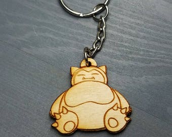 Pokemon Snorlax Keychain | Laser Cut Jewelry | Wood Accessories