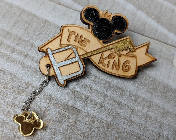 The King Mickey Mouse Kingdom Hearts Inspired Pin | Laser Cut Jewelry | Wood Accessories | Wood Pin