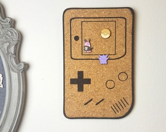 Gameboy Cork Board | Enamel Pin Display | Laser Cut Cork Board | Handmade Decor
