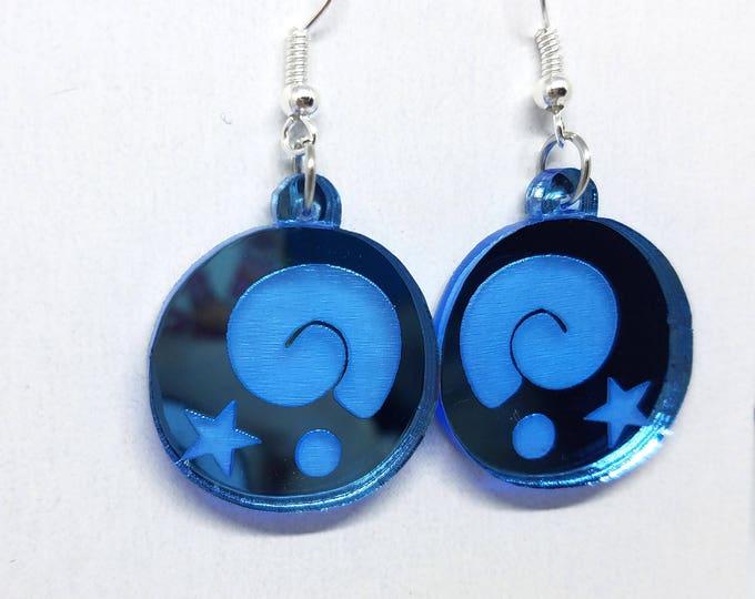 Animal Crossing Fossil Dangle Earrings | Laser Cut Jewelry | Hypoallergenic Hook Dangle Earrings | Mirrored Acrylic Earrings