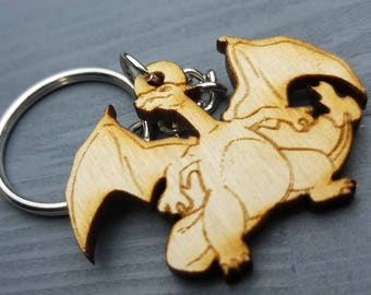 Charizard Pokemon Keychain | Laser Cut Jewelry | Wood Accessories | Pokemon Keychain