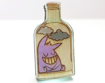 Bottled Gengar Terrarium Pokemon Inspired Pin | Laser Cut Jewelry | Wood Accessories | Wood Pin