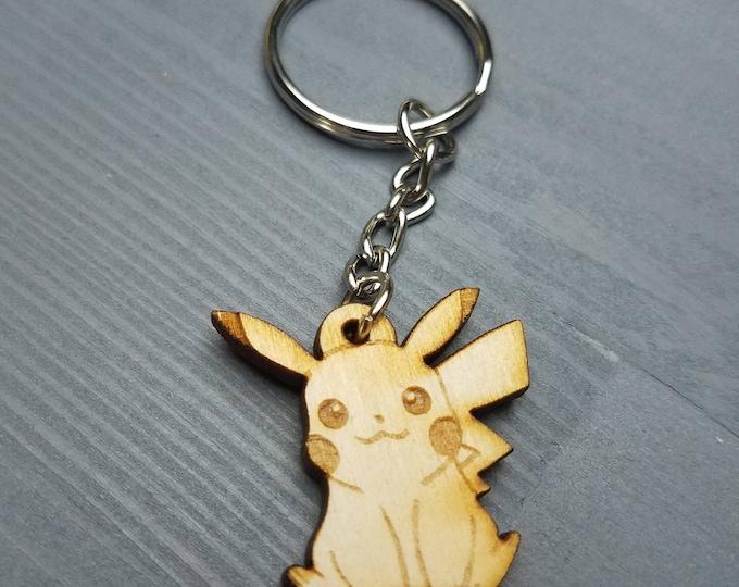 Pikachu Pokemon Keychain | Laser Cut Jewelry | Wood Accessories | Pokemon Keychain