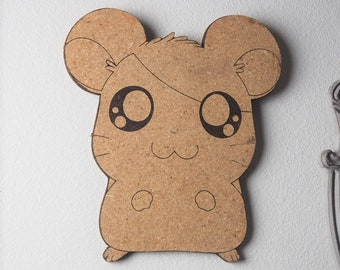 Hamtaro Ham Ham Hamster Cork Board | Enamel Pin Display | Laser Cut Cork Board | Handmade Decor