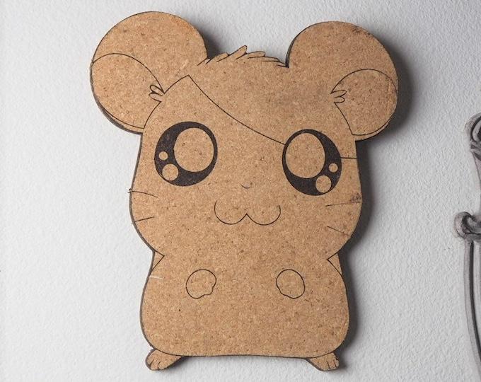Hamtaro Ham Ham Hamster Cork Board | Enamel Pin Display | Laser Cut Cork Board | Handmade Decor