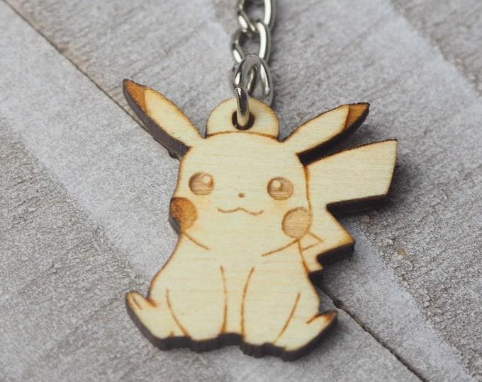 Pikachu Pokemon Keychain | Laser Cut Jewelry | Wood Accessories | Wood Keychain