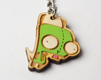 Gir Invader Zim Keychain | Laser Cut Jewelry | Wood Accessories | Wood Keychain