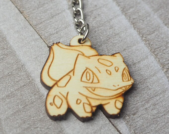 Bulbasaur Pokemon Keychain | Laser Cut Jewelry | Wood Accessories | Wood Keychain