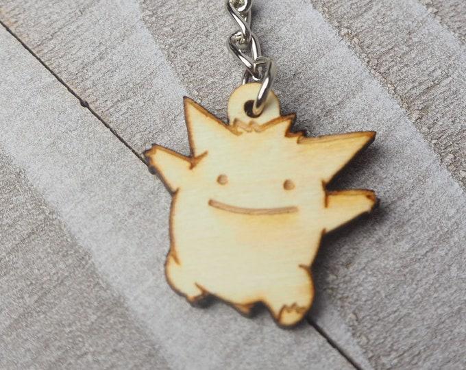 Ditto Gengar Pokemon Keychain | Laser Cut Jewelry | Wood Accessories | Wood Keychain
