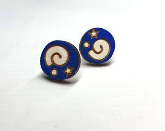Animal Crossing Fossil Symbol Earrings | Laser Cut Jewelry | Hypoallergenic Studs