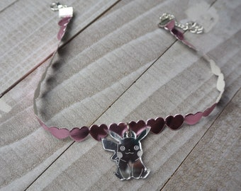 Silver Pikachu Pink Heart Choker Necklace | Laser Cut Jewelry | Handmade Necklace