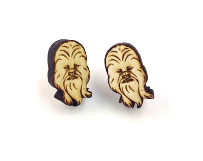 Chewbacca Earrings | Laser Cut Jewelry | Hypoallergenic Studs | Wood Earrings