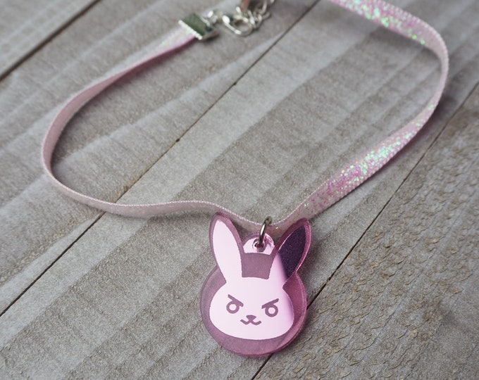 Pink D.Va Bunny Choker Necklace | Laser Cut Jewelry | Handmade Necklace