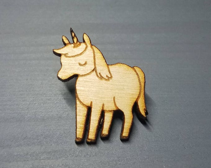 Isabella the Unicorn Pin | Laser Cut Jewelry | Wood Accessories