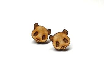 Panda Earrings | Laser Cut Jewelry | Hypoallergenic Studs | Wood Earrings