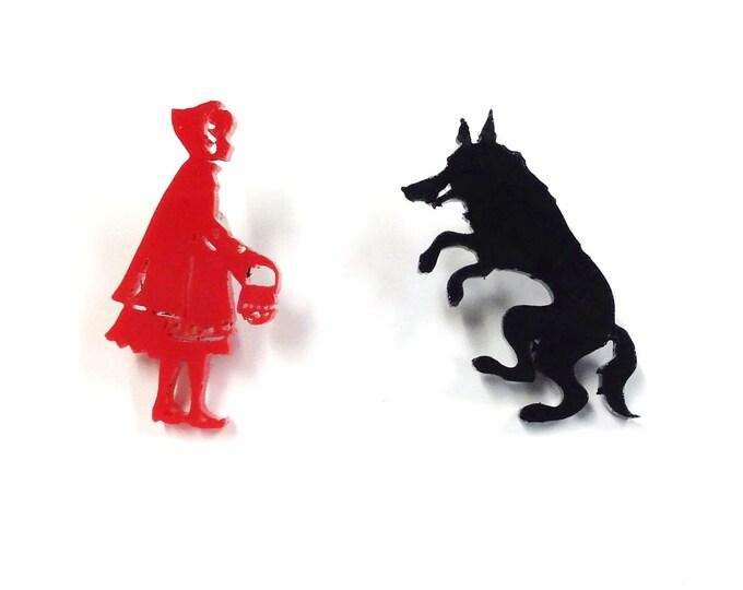 Little Red Riding Hood Earrings    Laser Cut Jewelry   Hypoallergenic Studs