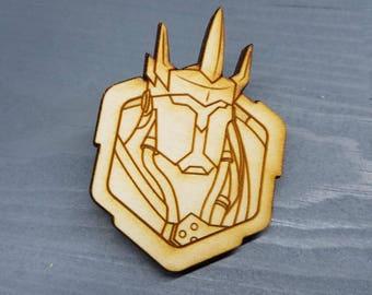 Reinhardt Overwatch Pin | Laser Cut Jewelry | Wood Accessories