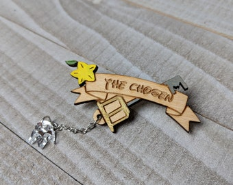 The Chosen Keyblade Kingdom Hearts Inspired Pin | Laser Cut Jewelry | Wood Accessories | Wood Pin