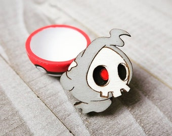 Duskull Pokemon Inspired Pin | Laser Cut Jewelry | Handmade Pin | Wood Pin