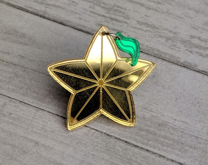 Paopu Star Fruit Kingdom Hearts Inspired Pin | Laser Cut Jewelry | Acrylic Accessories | Pin