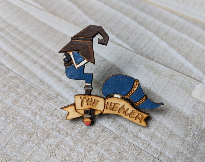 The Healer Donald Duck Kingdom Hearts Inspired Pin | Laser Cut Jewelry | Wood Accessories | Wood Pin