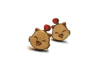Moogle Face Earrings| Laser Cut Jewelry | Hypoallergenic Studs | Wood Earrings