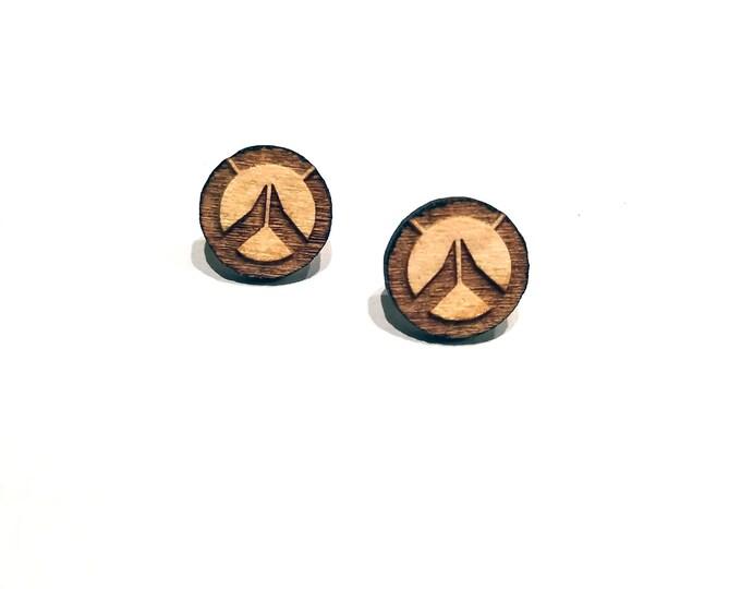 Overwatch Logo Earrings   Laser Cut Jewelry   Hypoallergenic Studs   Wood Earrings