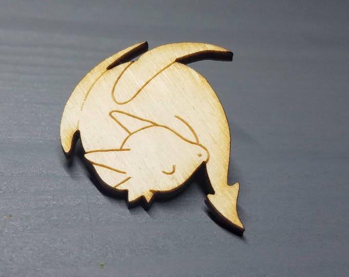Rodrigo the Sleepy Dragon Pin | Laser Cut Jewelry | Wood Accessories