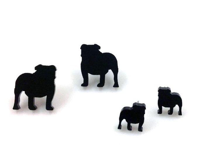English Bulldog Earrings   Laser Cut Jewelry   Hypoallergenic Studs