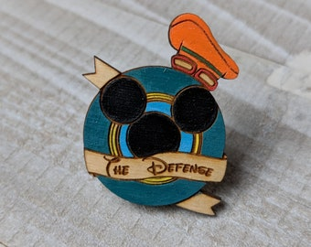 The Defense Goofy Kingdom Hearts Inspired Pin | Laser Cut Jewelry | Wood Accessories | Wood Pin