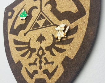 Triforce Shield Zelda Cork Board | Enamel Pin Display | Laser Cut Cork Board | Handmade Decor