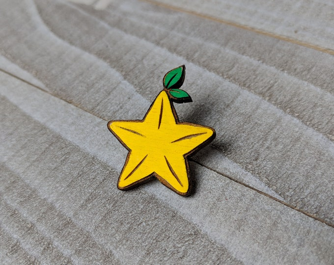 Paopu Star Fruit Kingdom Hearts Inspired Pin | Laser Cut Jewelry | Wood Accessories | Wood Pin