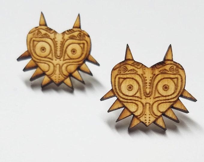 Majoras Mask Earrings | Laser Cut Jewelry | Hypoallergenic Studs | Wood Earrings