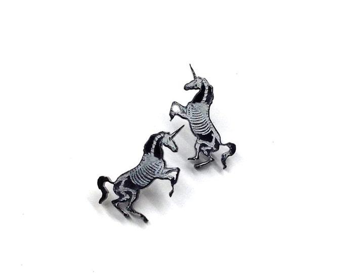 Unicorn Skeleton Earrings    Laser Cut Jewelry   Hypoallergenic Studs