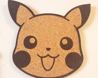 Pikachu Face Cork Board | Enamel Pin Display | Laser Cut Cork Board | Handmade Decor