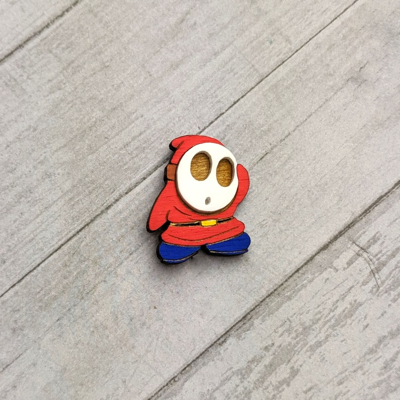 Laser Cut Jewelry Shy Guy Painted Wood Pin Handmade   Wood Accessories Pin