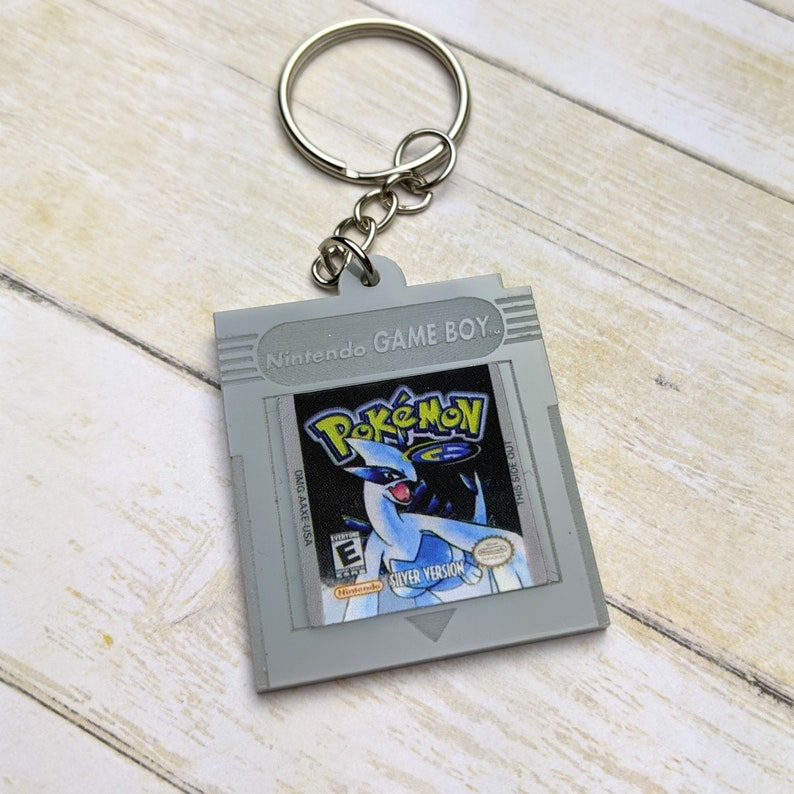 Acrylic Accessories Laser Cut Jewelry Silver Version Gameboy Cartridge Keychain