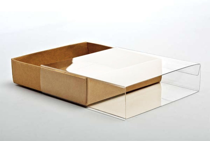 5 Kraft Paper Box Bases with Clear Sleeves, A7 Size 5 3/8