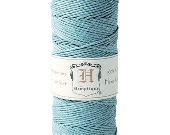 Light Blue 20lb Hemp Cord / Twine for Packaging, Jewelry, Etc. 205 Feet - Natural and Eco-Friendly
